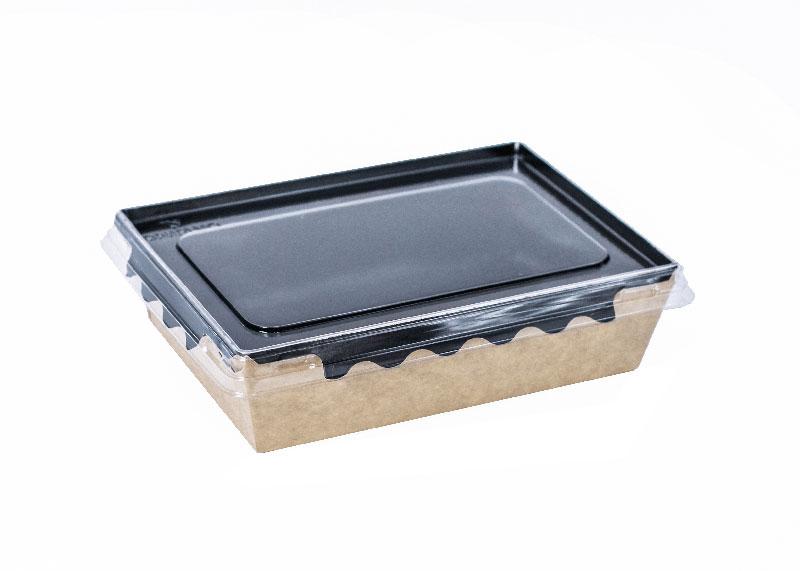 Контейнер для салатов, с пластиковой крышкой, черное дно