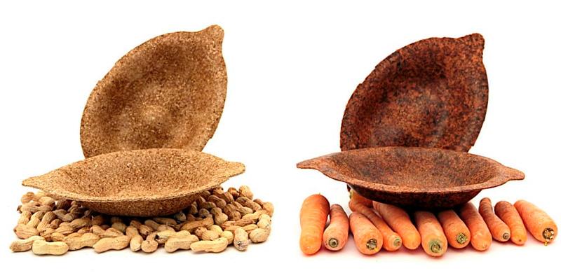 экопосуда из кожуры моркови и арахисовой скорлупы